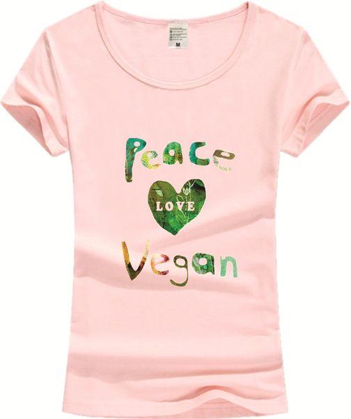 Wholesale- Funny Cotton T shirt Women  Peace Love Vegan 2017 Fashion Female Short Sleeve Tshirt Novelty Tops Clothing JV02
