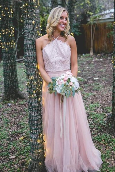 Großhandel New Country Brautjungfer Kleid lange formale erröten rosa ...