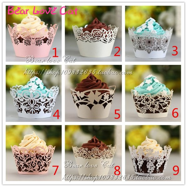 24PCS Many Design Wedding Cake Party Decorations cupcake liners Customized, Fancy Die Cut Royal Lace Flower wrappers Paper Craft Party Favor
