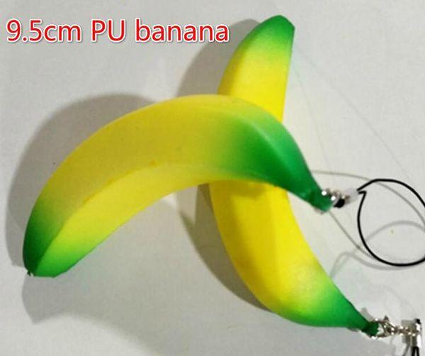 Free Ship 20pcs 9.5cm PU Banana Fruit Squishy Bread Food Charm Cell Phone Straps Fashion Squishies Pendant Chirstmas Gift