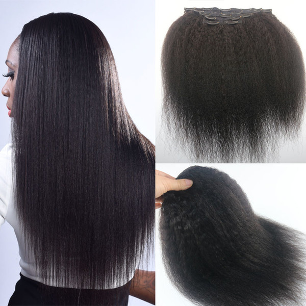 Afro Kinky Straight Brazilian Human Hair Clips Hair Extension 1B Natural Color Hair African American 7PCS 120gram
