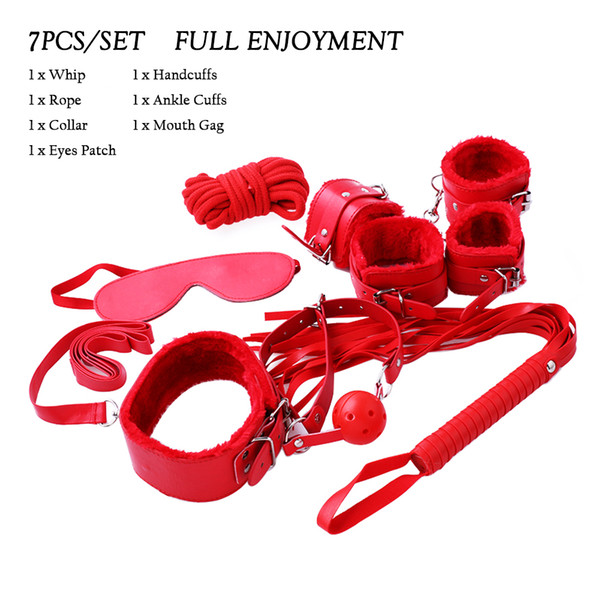 best selling 7pcs set PU Leather Plush bdsm Bondage for Foreplay Restraints Harness Handcuffs Blindfold Ankle Cuff Sex Games for Couples