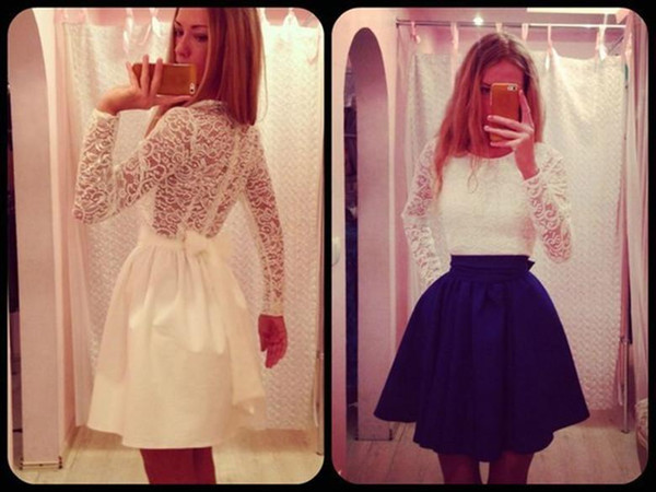Women Long Sleeve Sexy Lace Evening Party Bodycon Mini Skater Dress Long Sleeves Casual Dress Apparel Classic Elegant Office Lady Clothing
