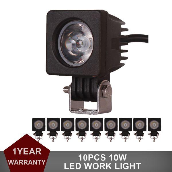 10 unids 10 W LED de Luz de Trabajo Offroad Car Auto Truck ATV Motocicleta Remolque Bicicleta 4WD AWD 4x4 Barco Spot Flood Side Marker Lámpara Niebla