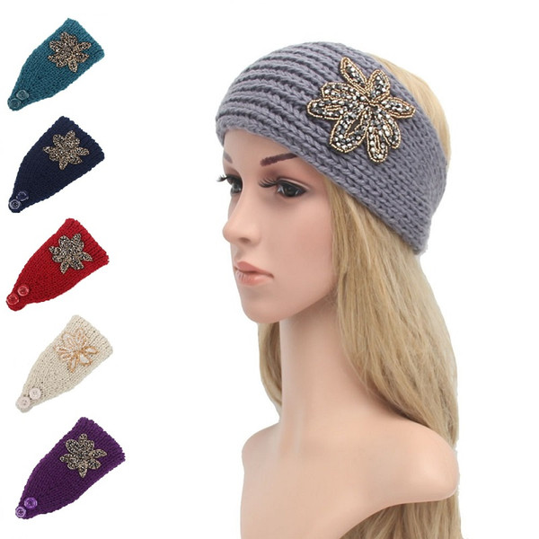 Women Fashion Hair Jewelry Wool Crochet Headbands Knit Hair bands Flower Winter Ear Warmer Wool hair bands free shipping