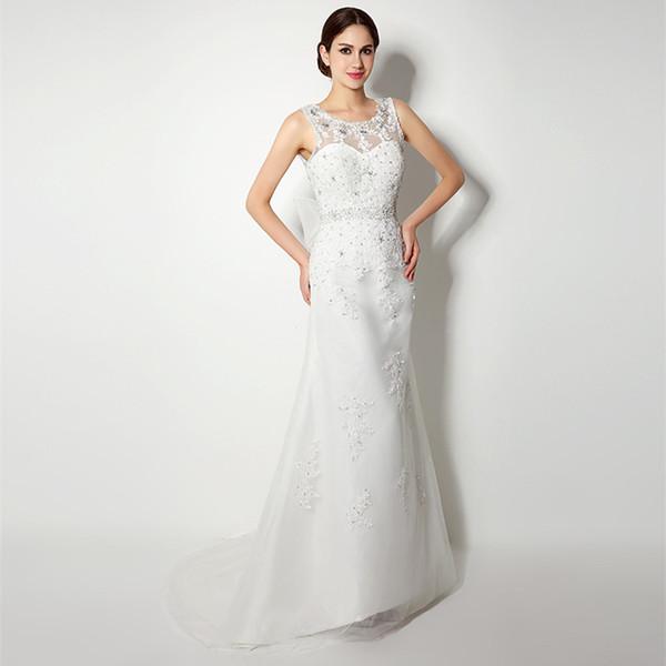 Foto real en Stock sin mangas escote redondo tribunal tren tul y apliques Vestido De Casamento sirena vestidos de novia 32239