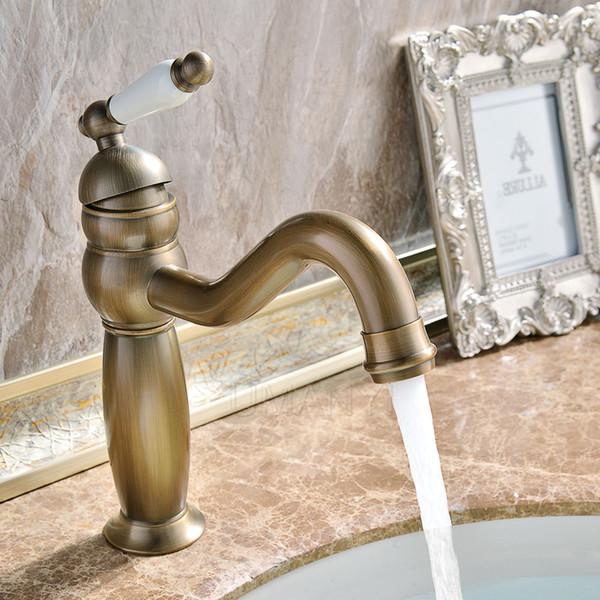 Wholesale Retail Bathroom Basin Faucets Antique Brass Brushed Bronze Single Lever Handle Deck Mount Hot Cold Mixer Toilet Sink Taps ABMPL040
