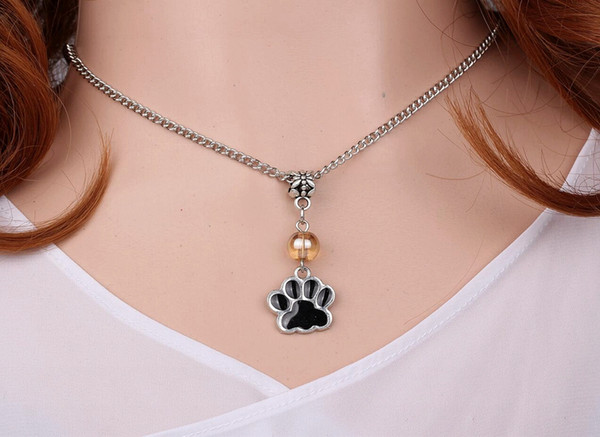 10Color Enamel Cat Dog Paw Prints Necklace Pendant Charms Choker Collar Chain Statement Vintage Silver Women Jewelry Accessories HOT A446