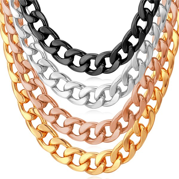 U7 Classic Cuban Link Chain Necklace 18K Gold/Rose Gold/Platinum Plated Fashion Men Jewelry Hip Hop Perfect Accessories Party Gift N755