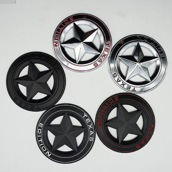 3D Chrome Metal TEXAS EDITION Stella a cinque punte Car Styling Stickers Decorazione per Grand Cherokee Compass Wrangler