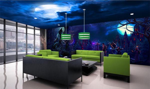 Halloween Realistic vampire horror Skull Rock papel de parede 3D wallpaper for walls 3D Stereo Mysterious Forest Horror Room Escape