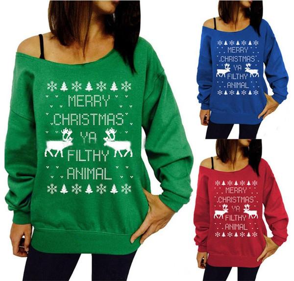 Femmes Dames Lettre Imprimé Animal Cerf Chemises Hoodies Pull Sweat Off épaule Pull Merry Christmas Party Tops Blouse