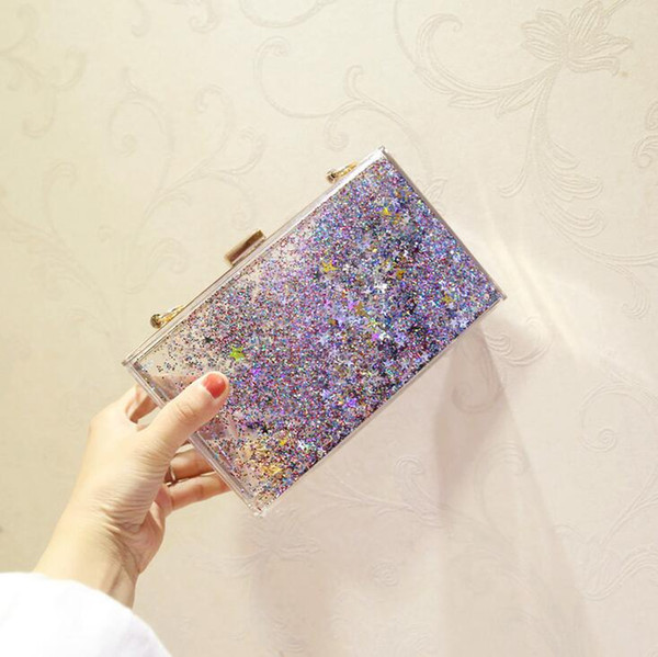 Factory custom brand package, summer crystal clear woman chain bag, personality flash powder, liquid acrylic Dinner Bag, 6 colors