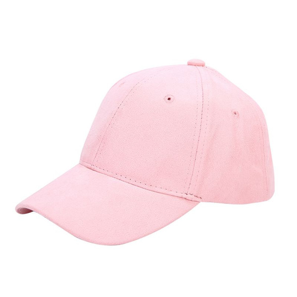 Wholesale- Women's Winter Hats Solid Pink Hair Adjustable Cap Female Sports Golf Hats Suede Baseball Caps Polo Caps Women Snapback Hats