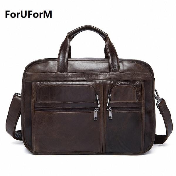 Wholesale- New Crazy Horse Genuine Leather Men Classic Briefcase Handbag Shoulder Bussiness Zipper Laptop Notebook office Bags LI-1128