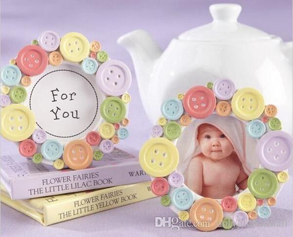 Ücretsiz Kargo Bebek Duş Iyilik Mini Güzel Düğme Bebek Fotoğraf Çerçevesi Kart Tutucu Düğün Iyilik