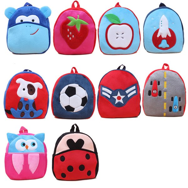 2017 27cm large children school bags lovely cartoon animals backpacks baby plush shoulder bag schoolbag toddler - Kids Cartoon Animals