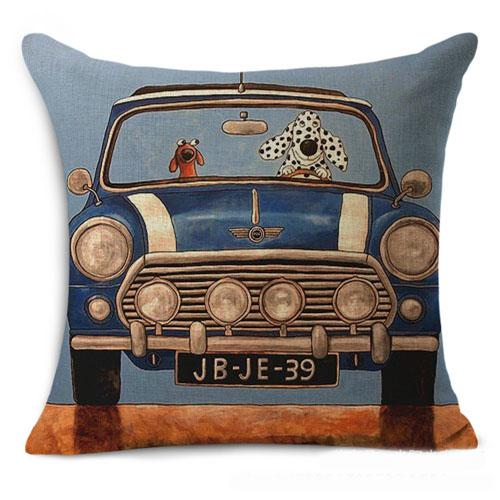 best selling 100% new square cushion cover pillow case 44*44cm dog driver free shipping cartoon printed cotton linen for bedroom office use