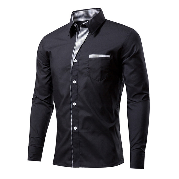 Wholesale- Plaid Shirt Men 2017 Brand New Long Sleeve Mens Dress Shirts Casual Slim Fit Chemise Homme Camisa Masculina Male Shirt Black XXL