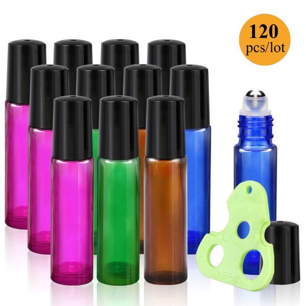 120 Unids / lote 10 ml Aceites esenciales Botellas de rodillos Rollo de vidrio en botellas con bolas de rodillos de acero inoxidable, Llaves de aceites esenciales
