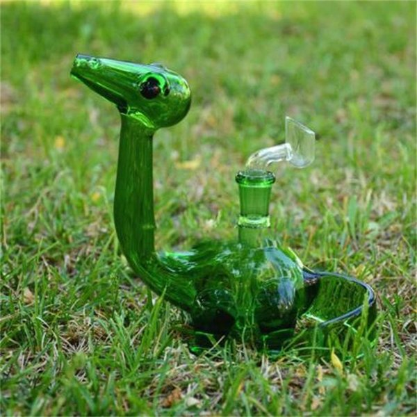 Joint Size 14.5mm Glass Pipes New Dino Oil Rigs Dab Bubble with Female Polished Bongs Pipes Two Colors Real Images Hookahs