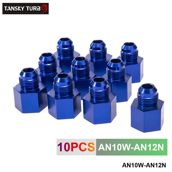 top popular TANSKY -10pcs AN10 to AN12 Blue Aluminum Fuel Fitting Adapter Straight Female > Male Flare Reducer -12AN-10AN AN10W-AN12N 2021
