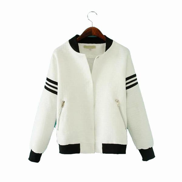 Women Casual Baseball Jacket Bomber Warm Sweatshirt Striped Stand Short Women Jackets Cool Clothing 2017 Coats