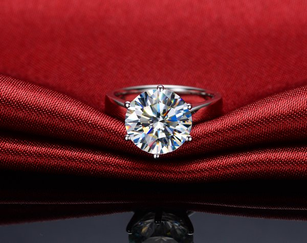 275a08841 Distinctive 6 ct Amazing Luxury synthetic diamond rings for women solid  silver PT950 stamped 18K white