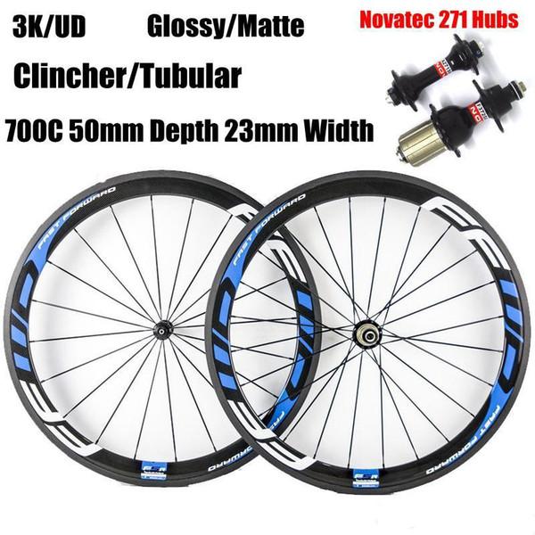 700C 50 mm Profundidad 23 mm Ancho FFWD Blanco Azul Calcomanía Ruedas de carbono Clincher Tubular 3K Mate Carbono completo Juego de ruedas de bicicleta Novatec 271/372 Ejes