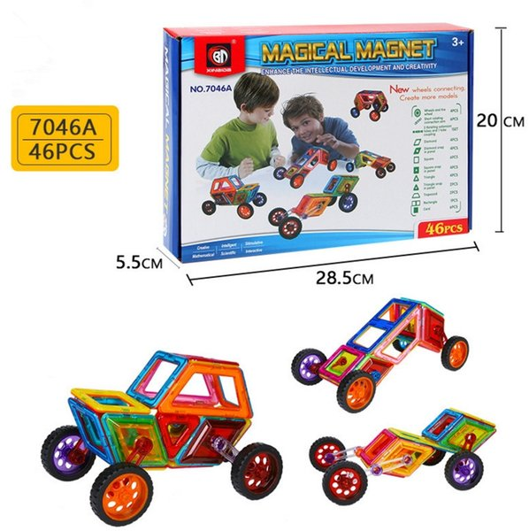 7046A 46pcs Magnetic Blocks Building Puzzle Rainbow colors Magnet Block Toys for kids Vehicle set Creater Carnival Set Christmas Gift