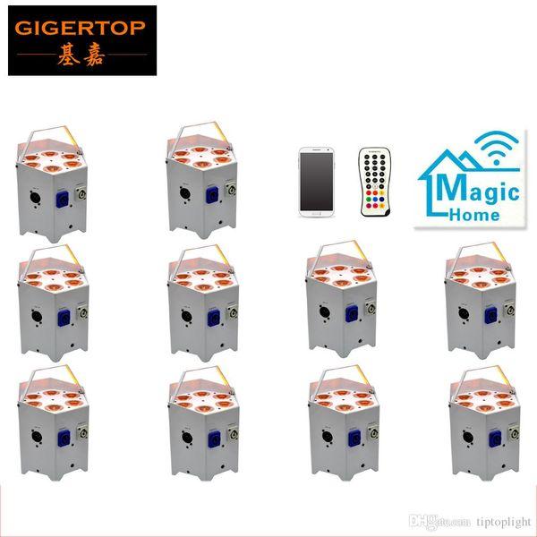 Завод прямых продаж 10 пакет батареи пульт дистанционного управления LED Par может 6x5W RGBAW 5IN1 2.4 G Беспроводной передатчик / приемник / мобильное приложение