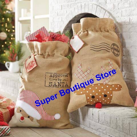 New arrival 2017 styles burlap santa sack 2 colors mixed Best quality Christmas gift candy bag indoor decoration kids gift bag fast delivery