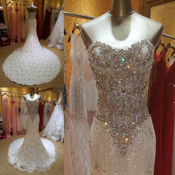 Luxurious Crystal Diamond Beaded Mermaid Wedding Dresses 2017 Sweetheart Lace Up Corset Court Train Bridal Gowns Sexy Custom Made 2016