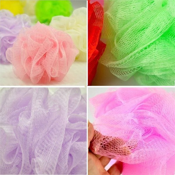 top popular Wholesale New Mesh Colorful nylon bath flower Bathing Spa Shower Scrubber wash bath ball Colorful Bath Brushes Sponges 8g I002 2019
