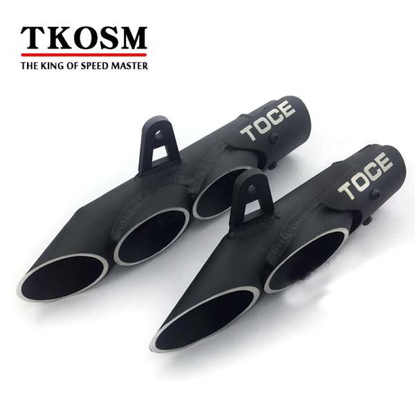 TKOSM 51mm Tubo Silenciador de Escape de la Motocicleta Doble de Doble Tubo de Acero Inoxidable Universal Para TOCE Yamaha R6 2 agujeros / 3 agujeros de Escape de Escape