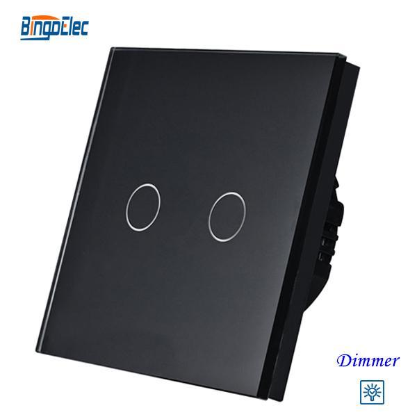 Interruptor de la luz del regulador del al por mayor-2gang, interruptor del regulador del tacto 2gang1way UE / UK estándar AC110-250V