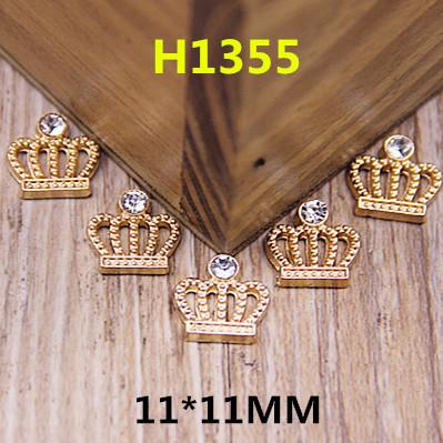 Wholesale-Wholesale 100PCS Flatback Gold Tone Alloy Princess Crown Button Patch Stickers Fit for Handmade Craft Girls Hair Jewelry Decor
