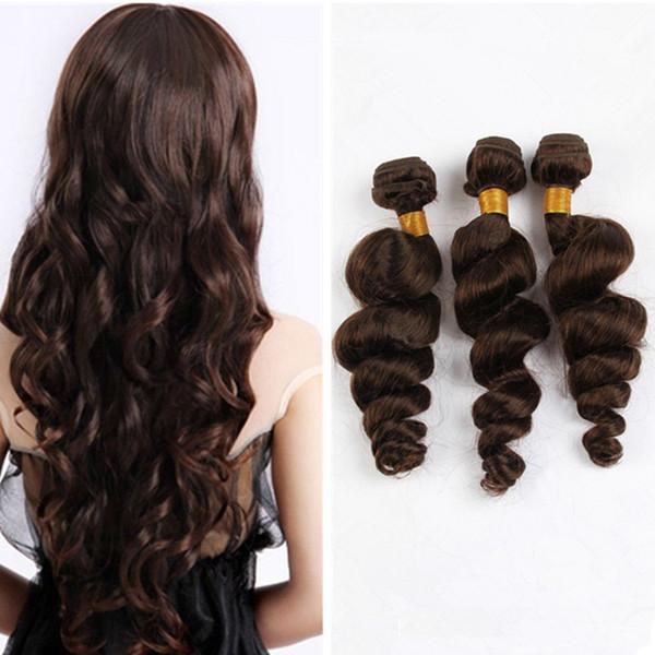 Medium/Light Brown Peruvian Loose Wave Virgin Hair 3 Bundles Color #4 Chestnut Brown Human Hair Weaves Extensions 3Pcs Lot