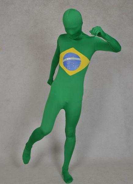 DHL Brazil Flag Zentai Second Skin Suit Fancy Dress Costume Spandex Lycra