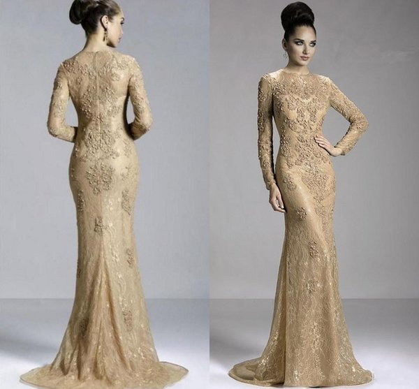 Janique 2017 Cheap Mother of the Bride Dresses Mermaid Jewel Neck Full Lace Gold Appliques Beaded Plus Size Formal Wedding Guest Gowns