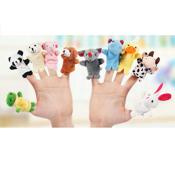 50pcs Baby Plush Toy Finger Puppets fashion Stuffed Animals plus animals creative Talking Props 10 animal group 10pcs/set best quality gift