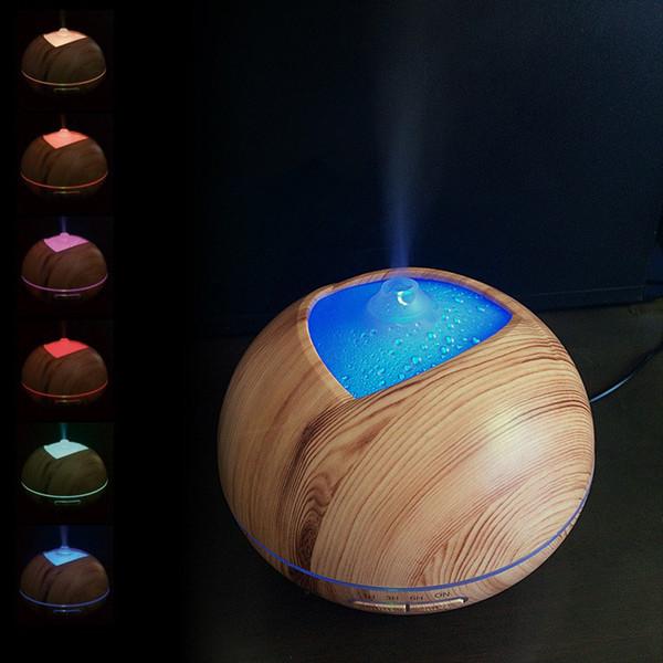 7 colores que cambian Luces llevadas Difusor portátil del aceite esencial Fabricante de la niebla Purificador ultrasónico Difusor aromático de madera del aroma del aire