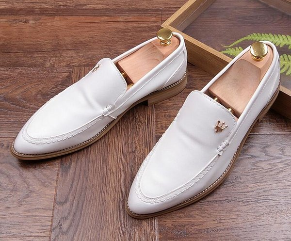 Men Top Designer Shoes Men pointed White black Wedding Groom Party Dress loafer shose For Male Sapato Social Masculino maserati 224