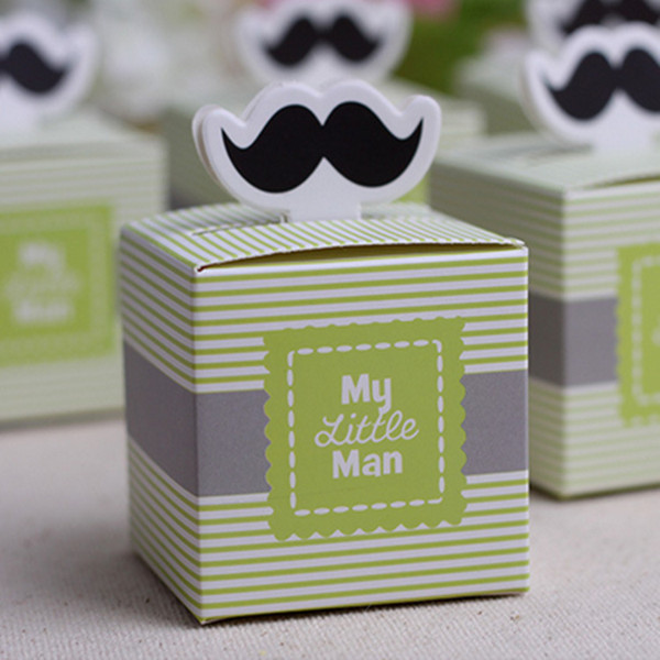 "100pcs ""My Little Man"" Mustache Blue Green Birthday boy baby shower Candy Box Gift Packaging Chocolate Boxes Baby Shower Favors"