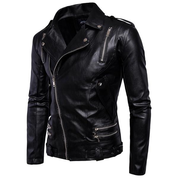 Black Winter Men Bomber PU Jackets Plus Size Motorcycle Mens Jacket Outwears Oblique Zipper Fashion Style Homme Leather PU Jacket T170759