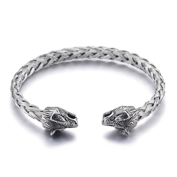 Prata, aço inoxidável, braçadeira, bracelete, motociclista, lobo, cabeça, final, aberto, bracelete, nó, corrente de arame
