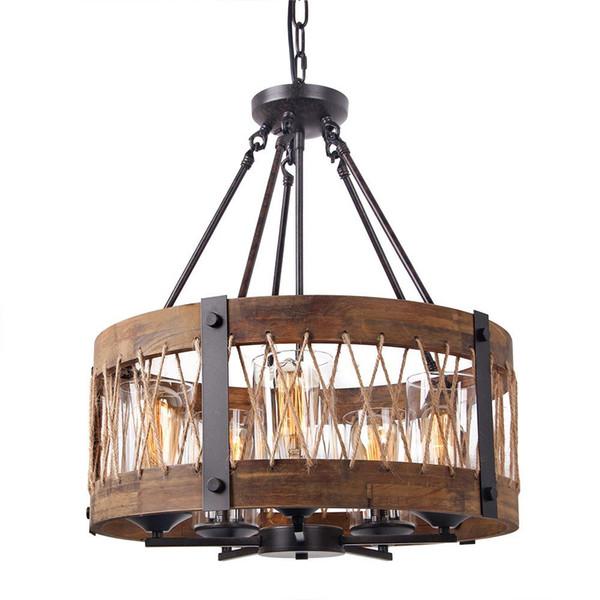 Runder Hölzerner Kronleuchter Mit Freiem Glasschatten, Edison Holz Insel  Hängende Beleuchtung Befestigungen