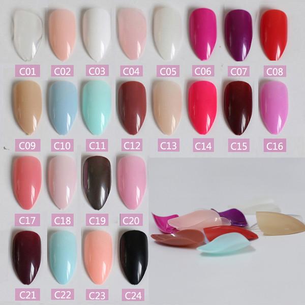 New Fashion Burst sezione Lungo punta caramelle unghie finte punta della coda Nail compresse 34 colori Può scegliere
