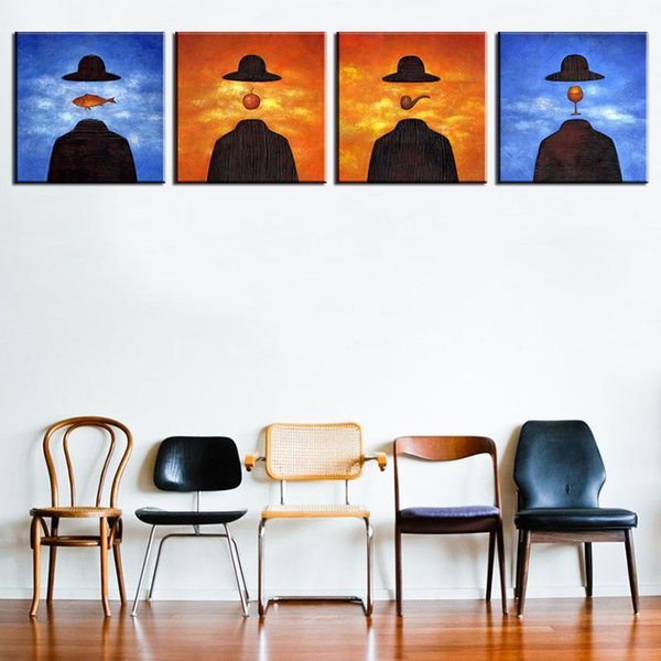 4PCS famous paintings by rene magritte wall paintings for home decor idea oil painting art print on canvas No Framed !