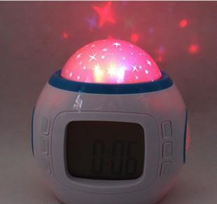 Chord music stars projection alarm clock Discus the alarm clock Blue screen colorful projection lamp Moon calendar clock